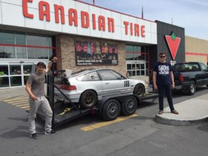 Nick and Ben in June 2016 on their way from Ontario after picking up the new Honda CRX racecar